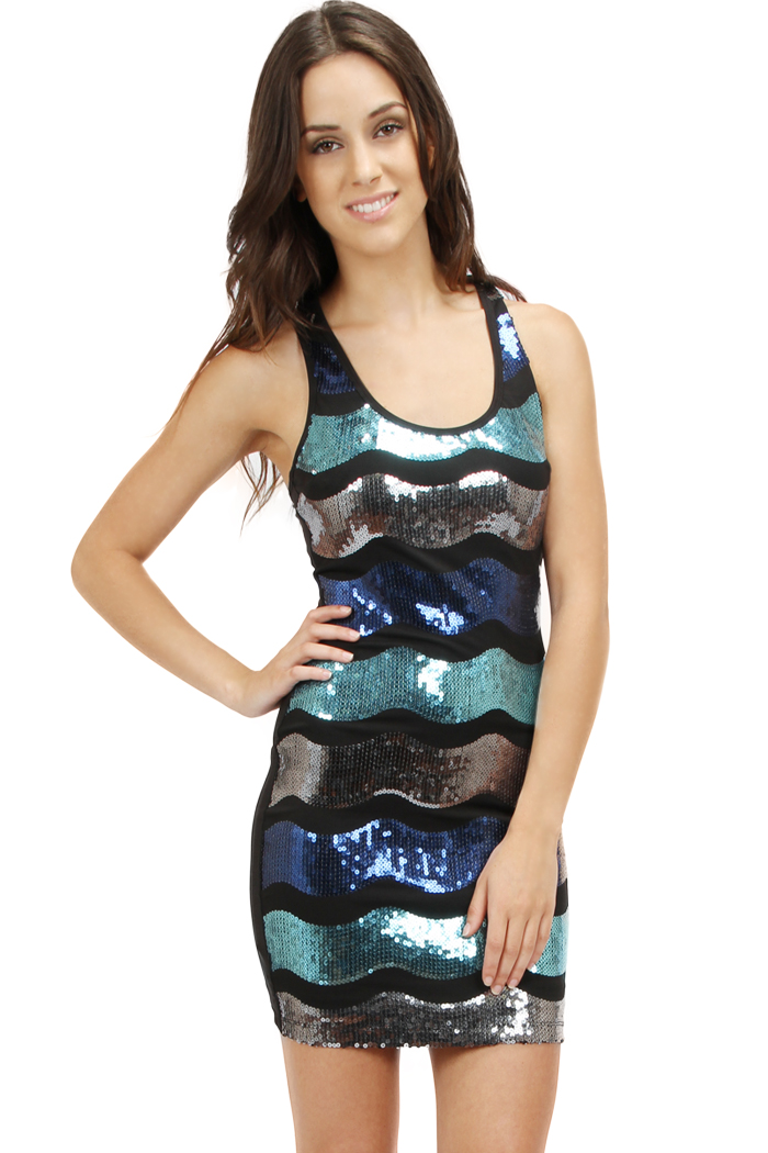 JADE WAVE SEQUIN SLEEVELESS DRESS-blue, jade, dress, sequin, short, black, silver