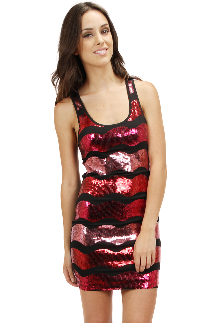 RED WAVE SEQUIN SLEEVELESS DRESS-red, shiny, shimmer, dress, short, black, silver, sequin