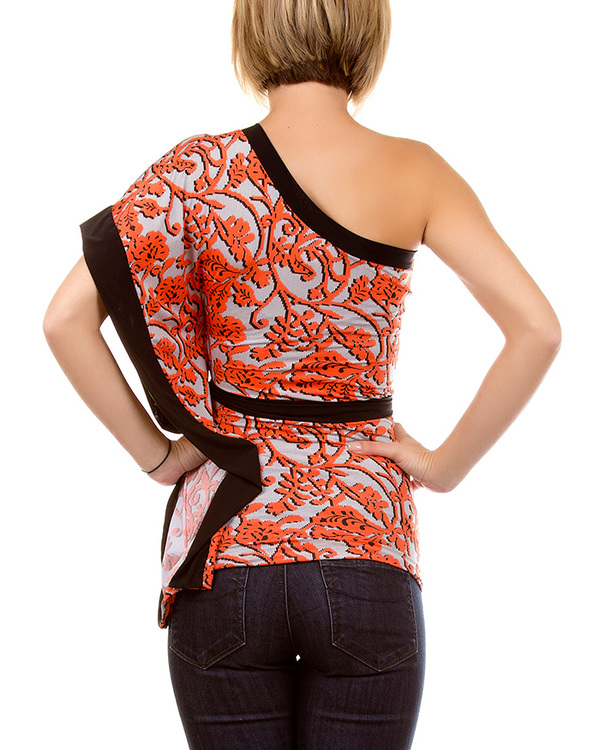 ORANGE/BLACK/WHITE ONE SHOULDER PAISLEY PRINT TOP-PAISLEY, TOP, SHIRT, ONE, SHOULDER