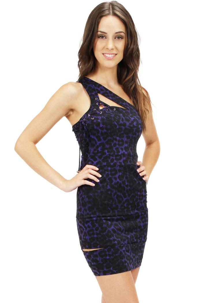 PURPLE ONE SHOULDER SLIT DRESS-purple, black, dress, slit, cheetah, short