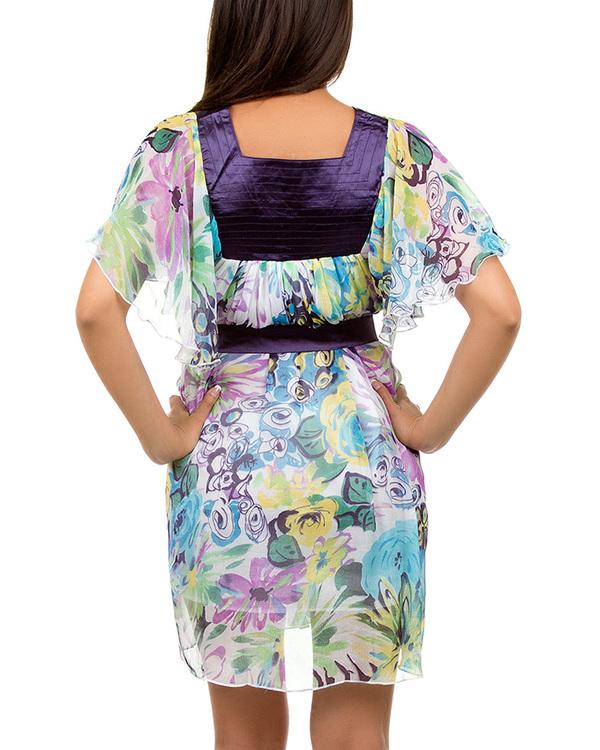 PURPLE CHIFFON PRINT DRESS-purple, dress, summer, print