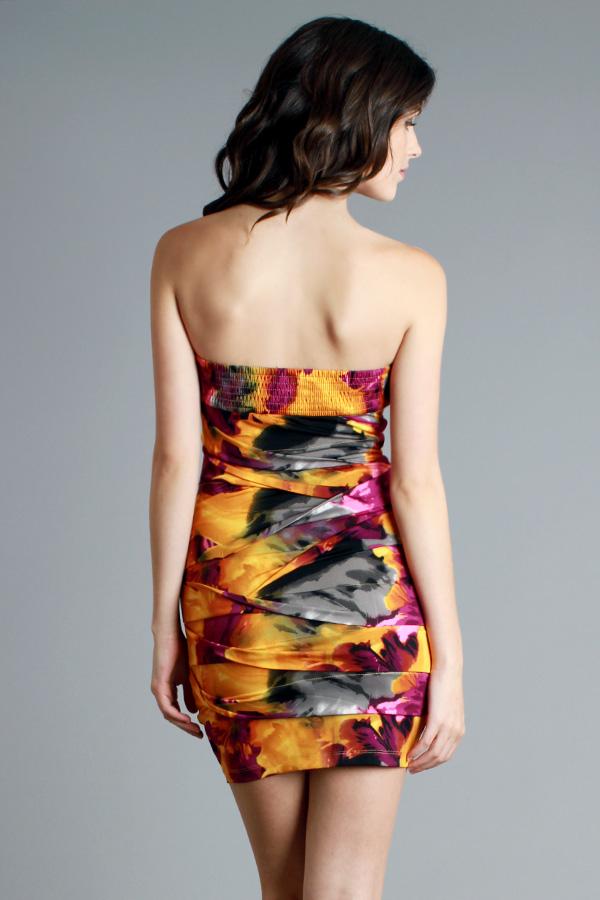 PINK/YELLOW/GREY/BLACK TUBE DRESS-yellow, pink, tube, dress, black, grey, gray, white