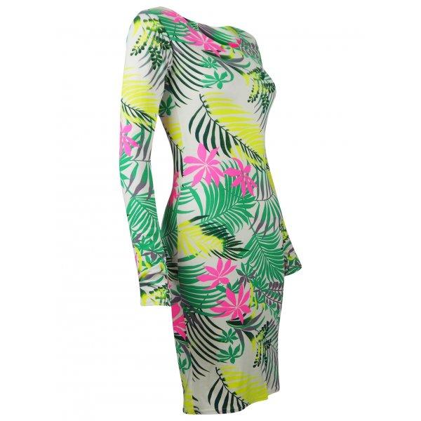 ALOHA TROPIC DRESS - GREEN-