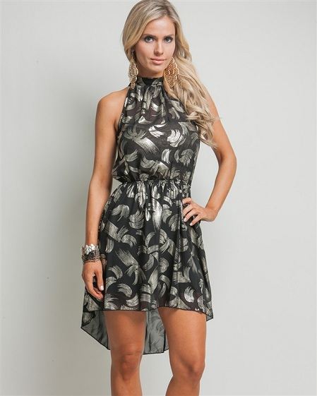 BLACK/GOLD SMOCKED DRESS-