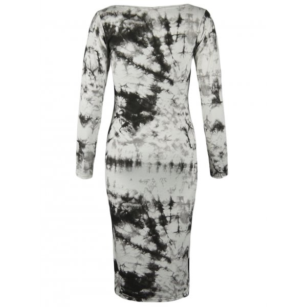 BLACK/WHITE TYE DYE KNEE LENGTH DRESS-