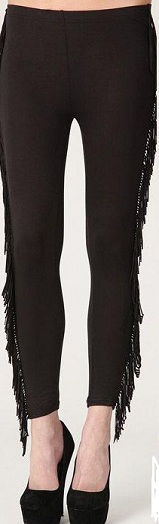 BLACK FRINGE LEGGINGS-TASSEL, FRINGE