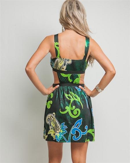 BLUE/GREEN PEEP WAIST DRESS-