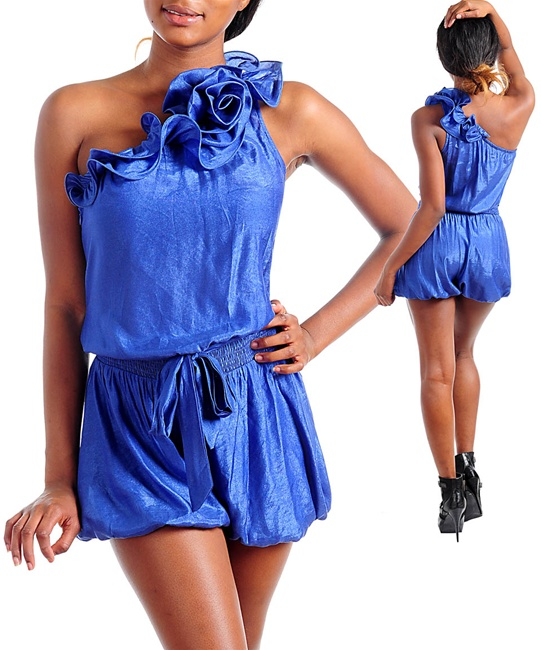 ROYAL BLUE ONE SHOULDER SHORTSET-royal, blue, short, set, shortset, pant, one, shoulder
