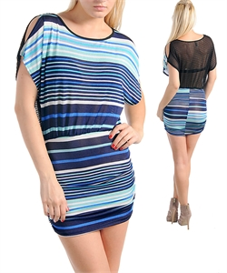 BLUE BELLA STRIPED DRESS-blue, dress, mesh, short
