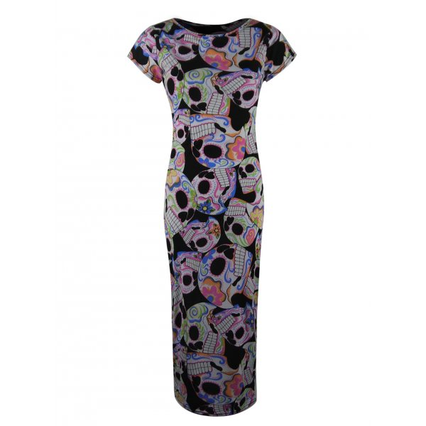 COLORFUL SKULLS PRINT SS KNEE LENGTH DRESS-