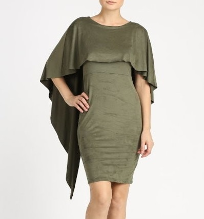 DANA CAPE DRESS - OLIVE GREEN-