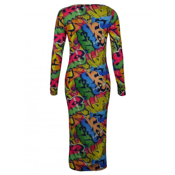 EVA GRAFFITI KNEE LENGTH DRESS-