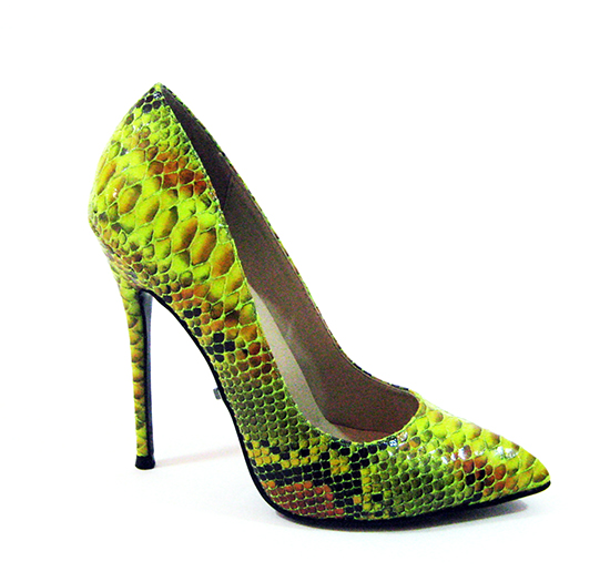 FEFE SNAKE PRINT PUMPS - LIME-