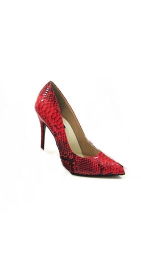 FEFE SNAKE PRINT PUMPS - RED-