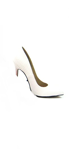 FEFE SNAKE PRINT PUMPS - WHITE-