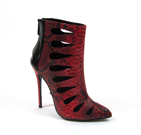 FELINE SNAKE PRINT ANKLE BOOTIES - RED-