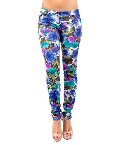 FLORAL PRINTED PANTS - BLUE-