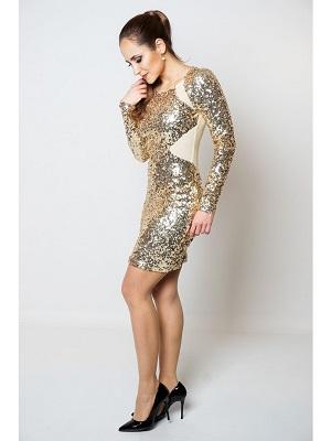 GLITZY GALORE DRESS - GOLD-