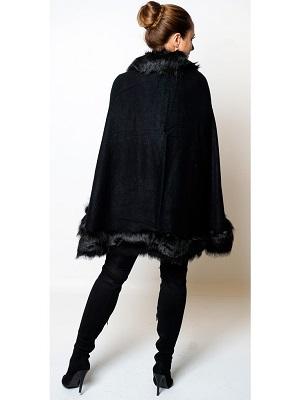 JANA FUR CAPE - BLACK-