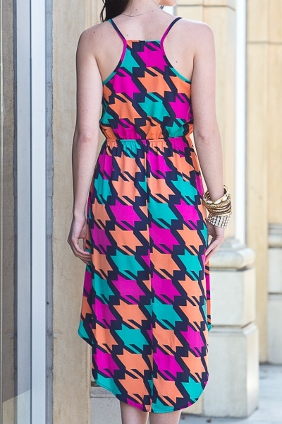 LANA COLORFUL HOUNDSTOOTH DRESS-