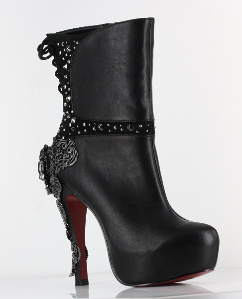 QUEEN ROCK BOOTS - BLACK-mcqueen, hades
