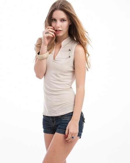 SLEEVELESS MILITARY TOP - KHAKI-