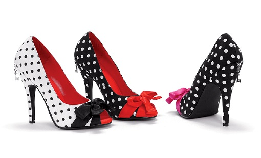 PAIGE POLKA DOT - BLACK/RED-polka dot, peep toe