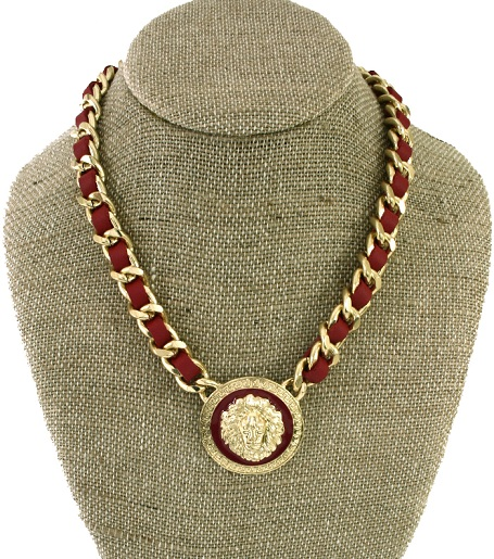LEATHERETTE CHAINLINK LION NECKLACE - RED/GOLD-