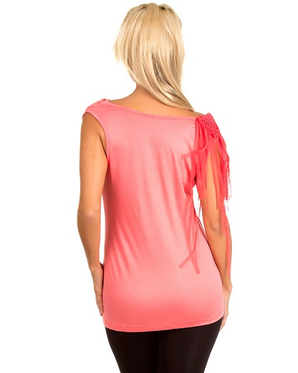 ONE SHOULDER SHEARED TOP - CORAL-