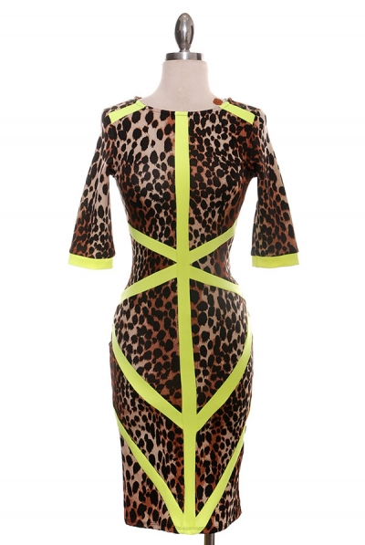 SHELLY LEOPARD DRESS - LIME-