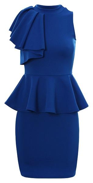 TAYLOR PEPLUM DRESS - BLUE-