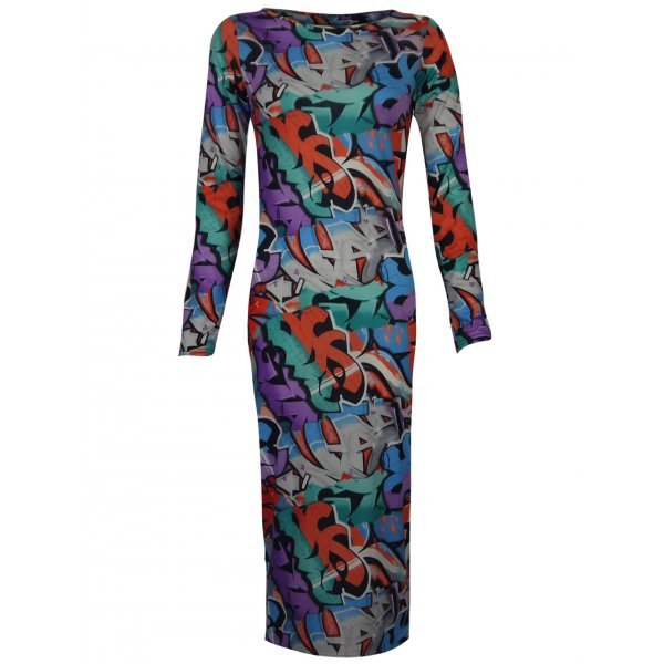 YANA GRAFFITI KNEE LENGTH DRESS-