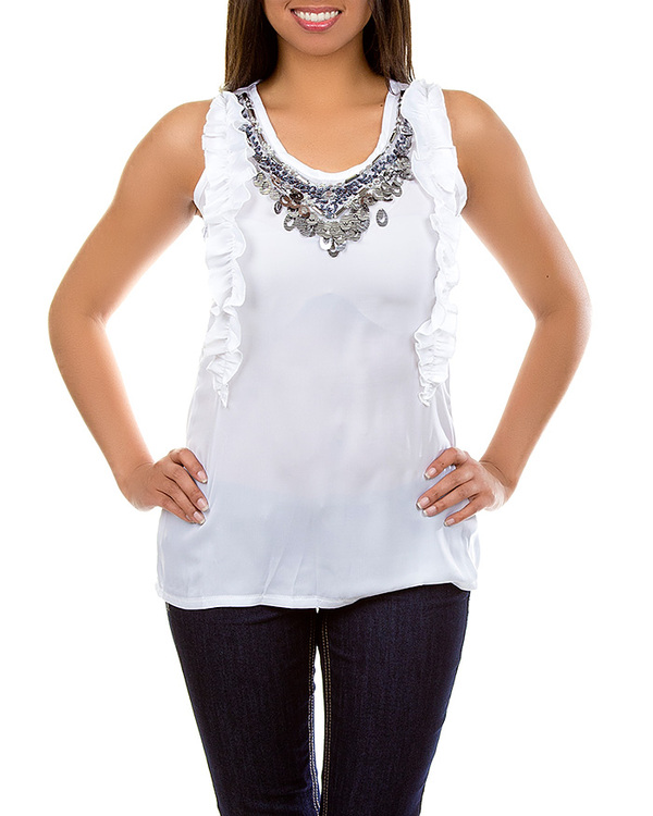 WHITE RUFFLE SEQUIN TOP-top, ruffle, white, sequin, shirt