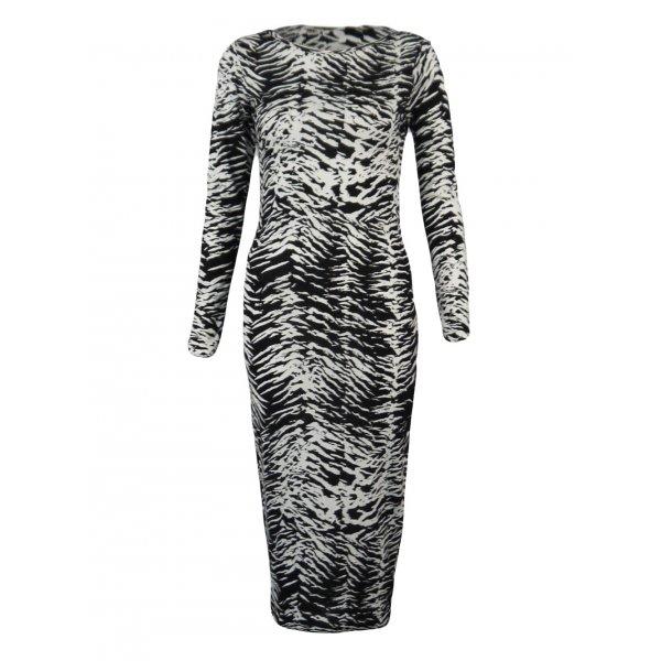 ZEBRA PRINT LONG SLEEVE KNEE LENGTH DRESS-
