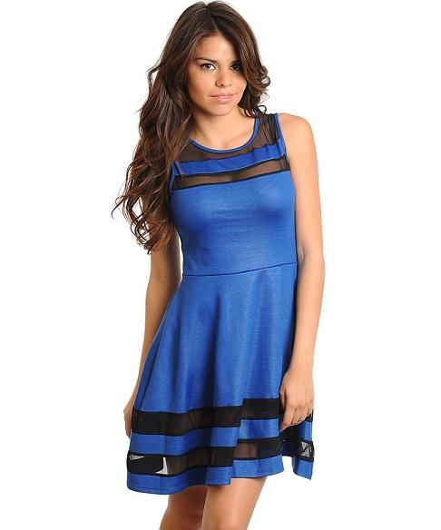 ASIA SKATER DRESS - BLUE-
