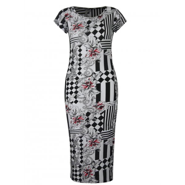 BLACK/WHITE BAROQUE PRINT SS KNEE LENGTH DRESS-