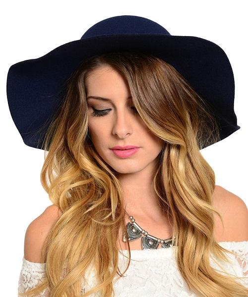NAVY BLUE FLOPPY HAT-