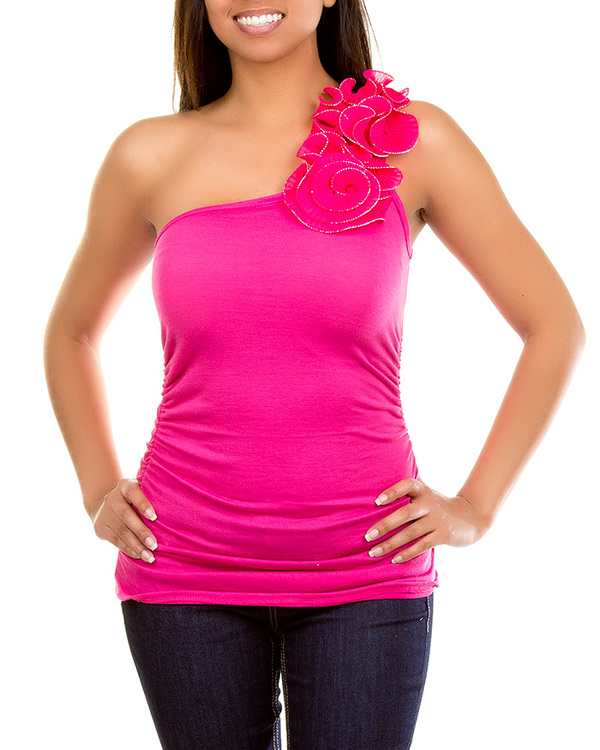 HAUTE PINK ONE SHOULDER RUFFLE TOP-PINK, ONE, SHOULDER, TOP, SHIRT