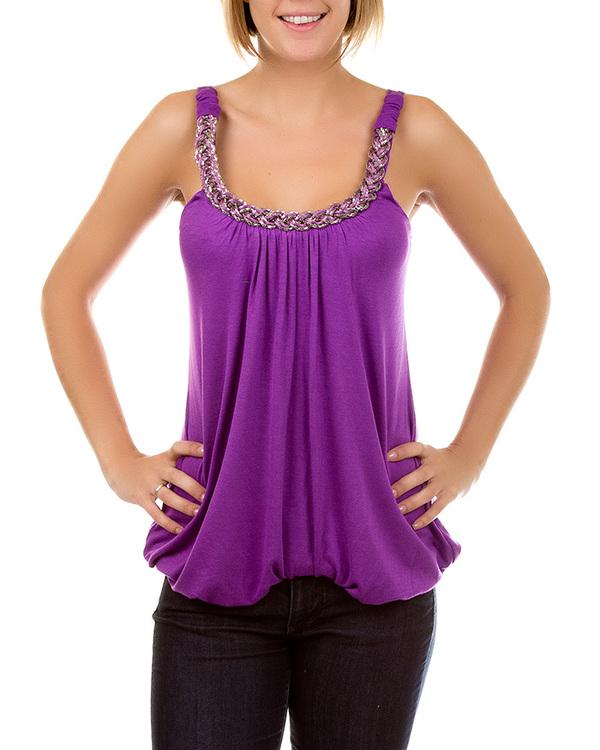 PURPLE METAL ROPE TOP-shirt, purple, top, rope, metal, silver