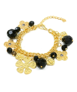 GOLD BLACK BEAD FASHION BRACELET-gold, black, bead, bracelet, charm