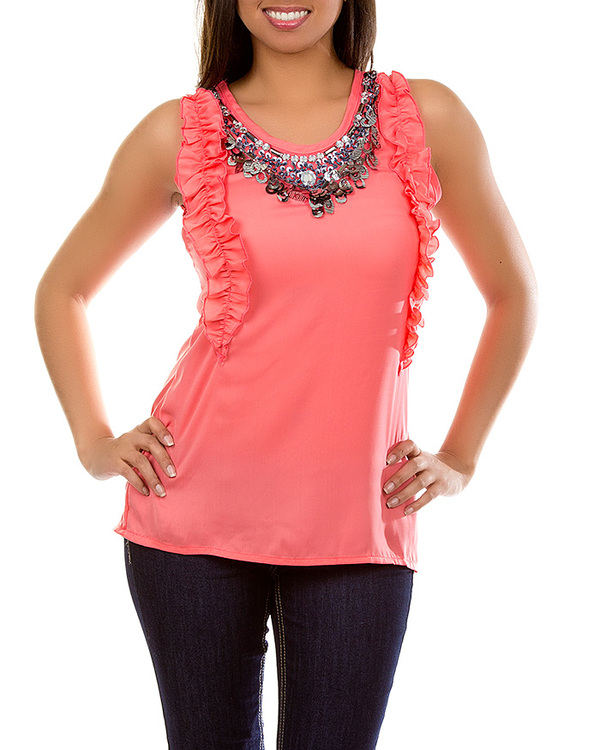 CORAL RUFFLE SEQUIN TOP-top, ruffle, coral, sequin, shirt