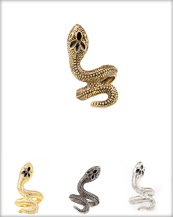 SNAKE RING-black, silver, gold, snake, ring
