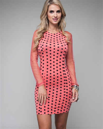 LALA NET SLEEVE POLKA DOT DRESS - PAPAYA-
