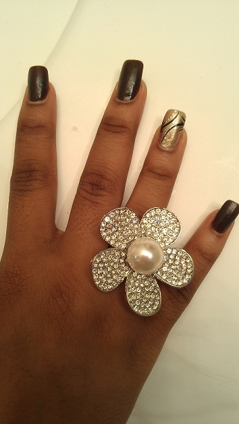 DIAMOND AND PEARL FLOWER RING-DIAMOND, RHINESTONE, PEARL, RING