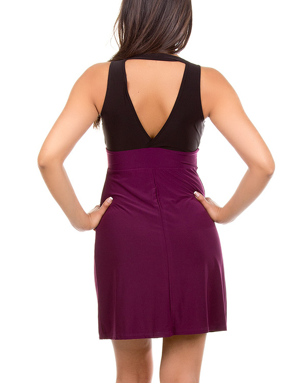 BLACK/PLUM STUDDED DRESS-black, plum, dress, stud