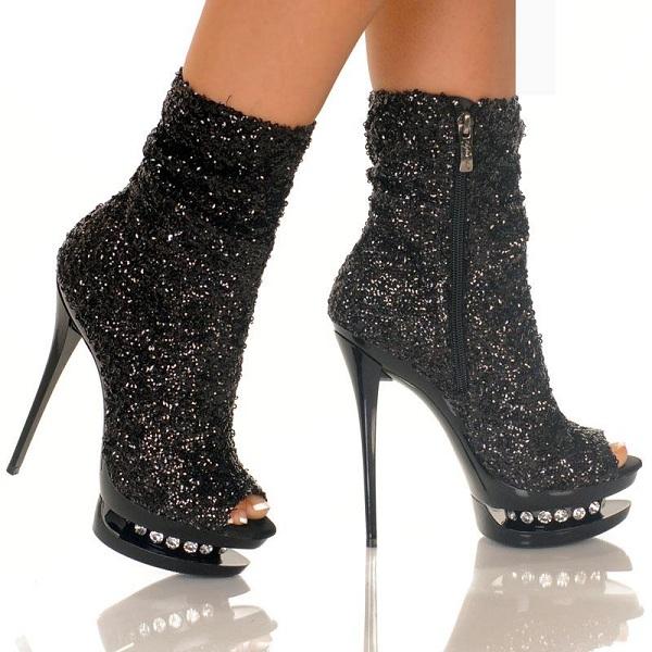 dia glam sequin boots black