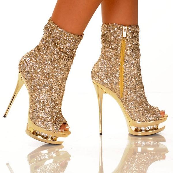 Gold Booties Heels