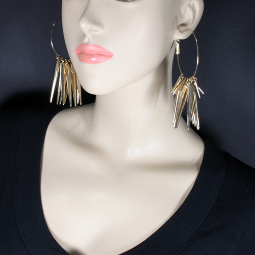 SHAUNIE GOLD SPIKE HOOPS-gold, spike, hoop