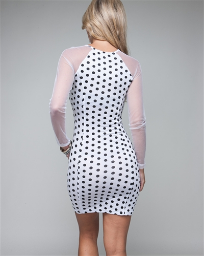 LALA NET SLEEVE POLKA DOT DRESS - WHITE-
