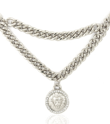 LIONHEAD DOUBLECHAIN NECKLACE - GOLD OR SILVER-